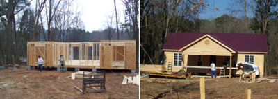 Kudzu Cove Cabins in Guntersville under construction in 2004